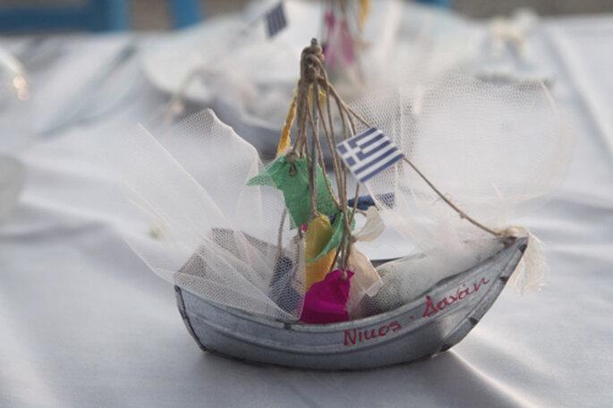 A bandeira nacional grega integrada como elemento de decoração Foto: Charlotte Valade