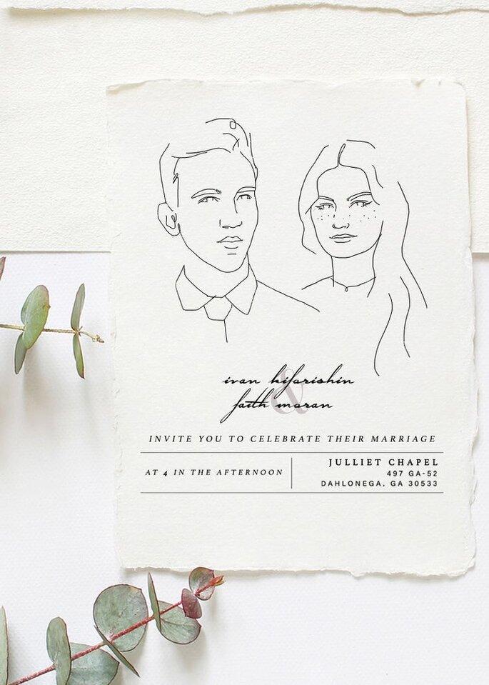Hochzeitseinladungen Trends mit gezeichnetem Brautpaar Line Art