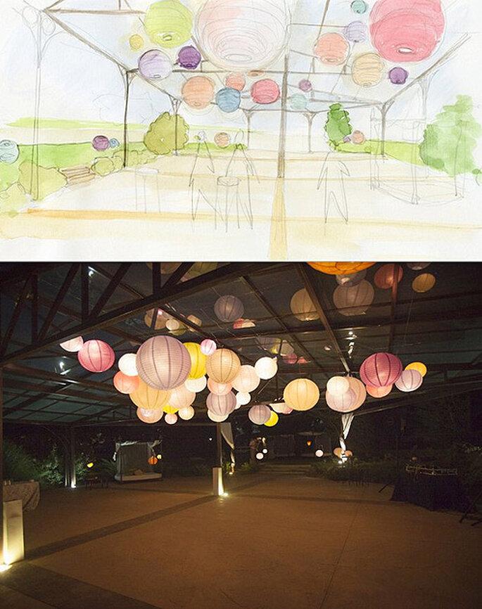 Zona de baile decorada con papel, diseño de Marlett. Foto: Marlett