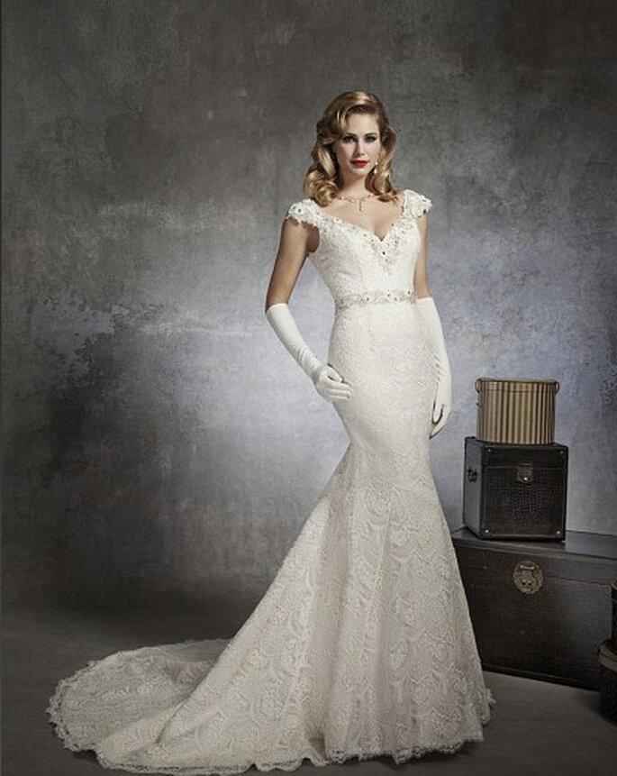 Glamoroso vestido corte sirena. Foto: www.justinalexanderbridal.com