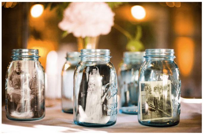 Decoración de boda con tarros de cristal - Foto Jessamyn Harris