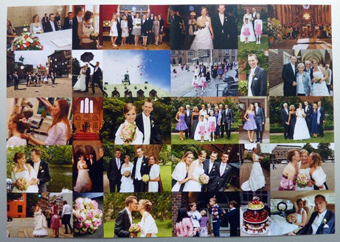 Dankeskarte mit Hochzeitsfotos.
