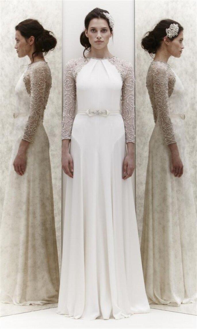 Vestido de novia con manga larga llena de pedrería - Foto Jenny Packham 2013
