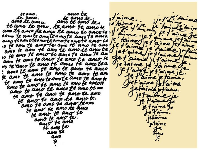 'te amo' and 'je t'aime' prints from Etsy seller theloveshop
