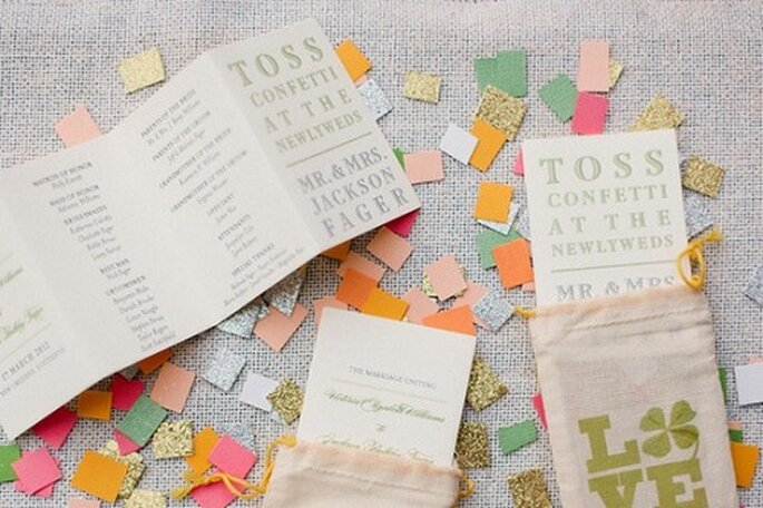 Invitaciones para boda con confetti. Foto de Magnolia Pair.