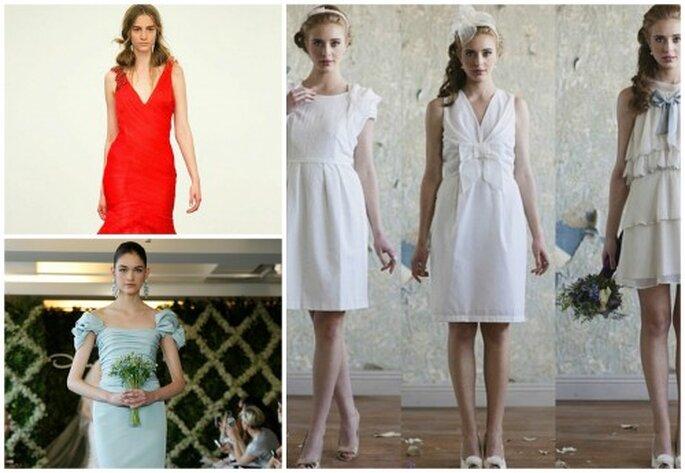 Kurz und bunt - mit diesen Kleidern fallen Sie sicher auf. Fotos: Ruche-cortos, Vera, Oscar de la Renta