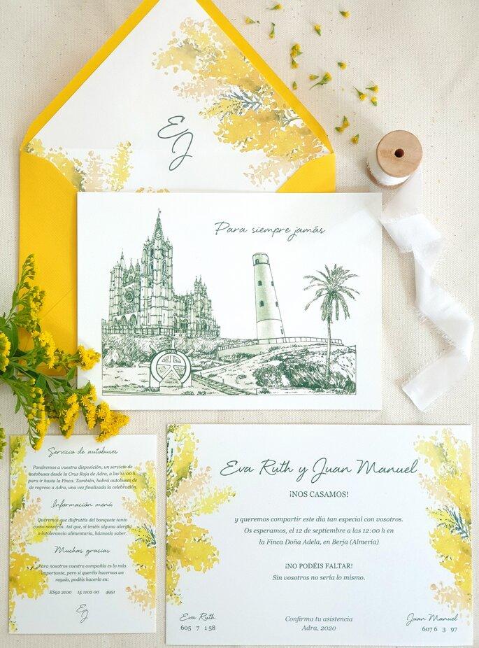 invitaciones de boda amarillas