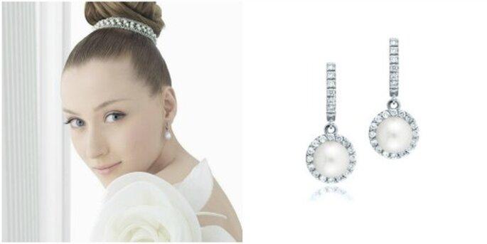 """Boucles d'oreille longues """"Koré"""" avec perles et diamants. Photo: Rosa Clará"""