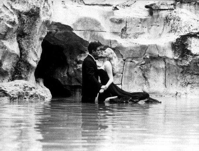"""Sur Muzeo, offrez-vous cette photo du tournage du film """"La Dolce Vita"""", de Federico Fellini"""