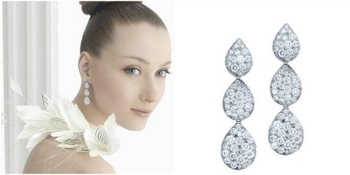 """Boucles d'oreille """"Alena"""" en forme de gouttes avec des diamants. Photo: Rosa Clará"""