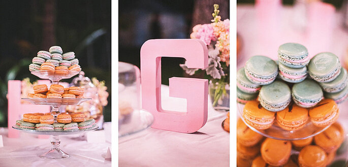 Combina los colores de los dulces para los invitados y consigue una bella decoración. Foto: Closer to Love Photographs