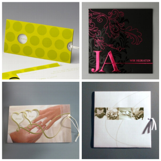 """Einladungskarten zur Hochzeit von weddix. Im Bild oben links: Modell """"Gianna"""", oben rechts: Modell """"Oksana"""", unten links: Modell """"Irina"""", unten rechts: Modell """"Marry""""."""