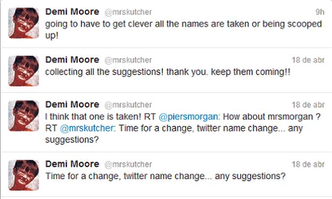 Demi Moore ha reaparecido en Twitter para cambiar su estado. Foto: Twitter.
