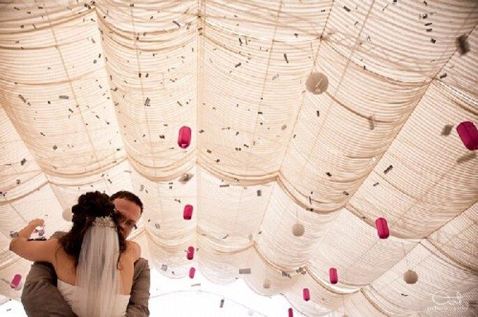 Foto del primer baile como esposos en la recepción de boda - Foto Arturo Ayala