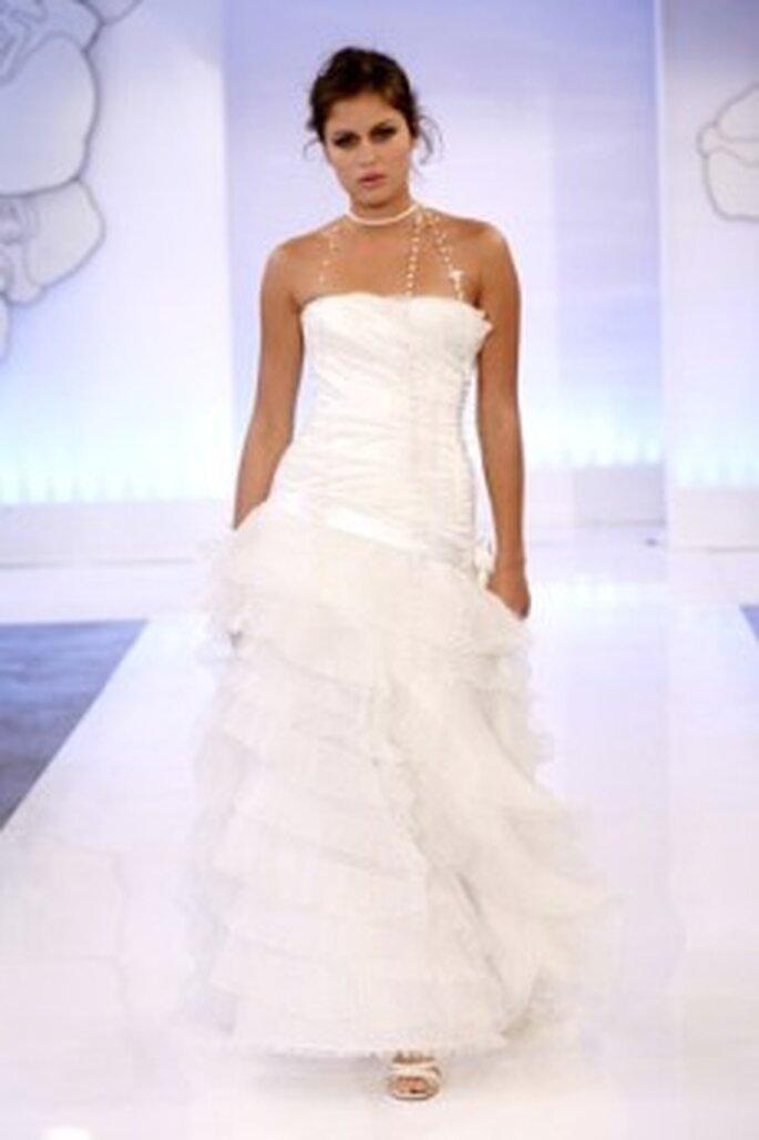 Cymbeline 2010 - Douceur, vestido largo en seda y tul, escote palabra de honor
