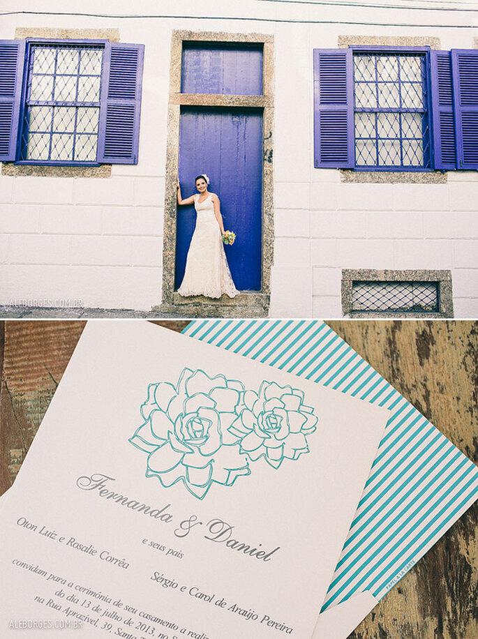 Invitaciones para una boda en azul y blanco. Fotos: Alexandre Borges