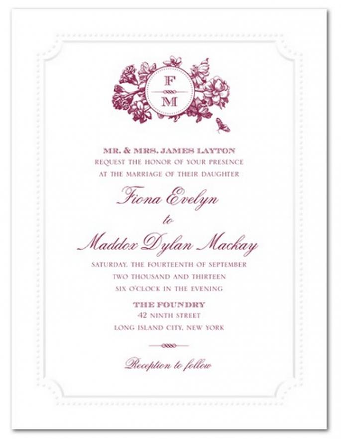 Mantén la simplicidad del diseño y agrega un toque de color - Foto Wedding Paper Divas