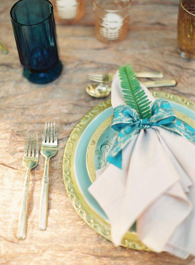Blaue und Grüne Farben auf Ihrem Hochzeitstisch - Foto Kurt Boomer