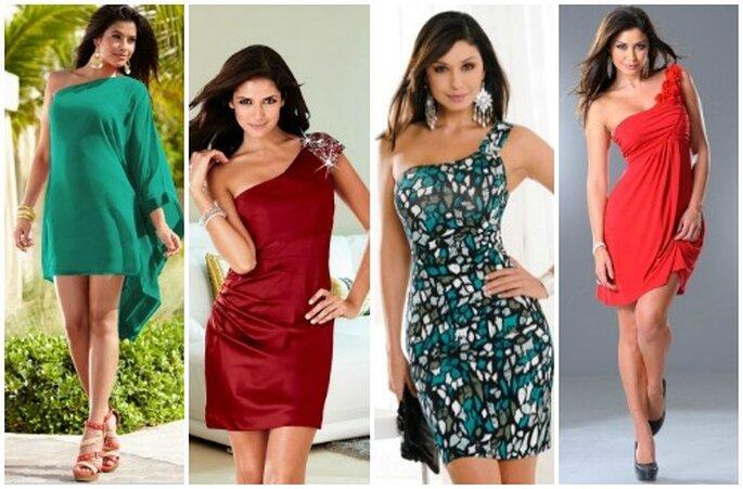 Quattro proposte monospalla, tinta unita o fantasia. Per essere alla moda spendendo poco! Foto www.bonprix.it
