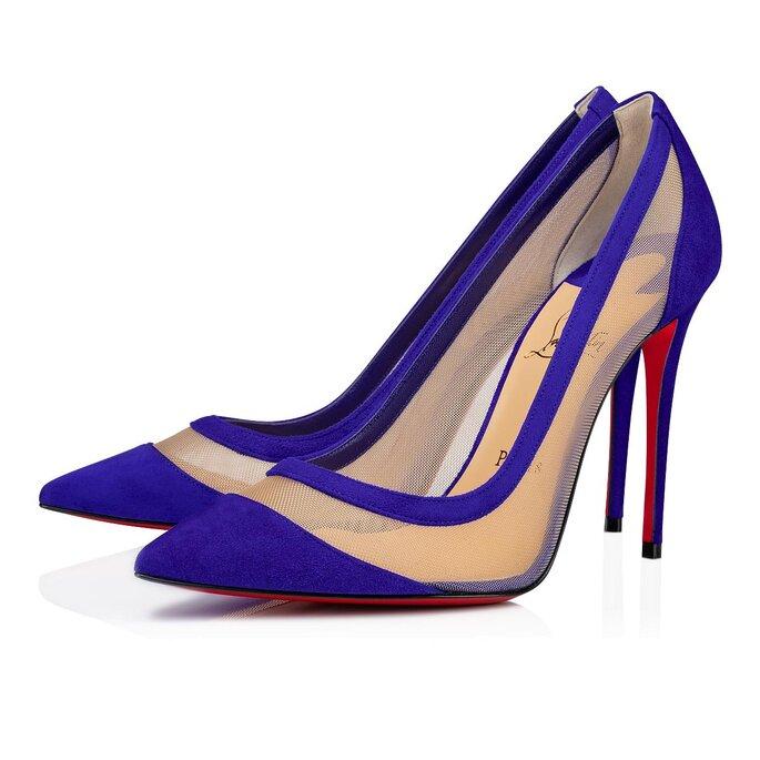 Zapatos de novia stilettos de color azul con malla transparente