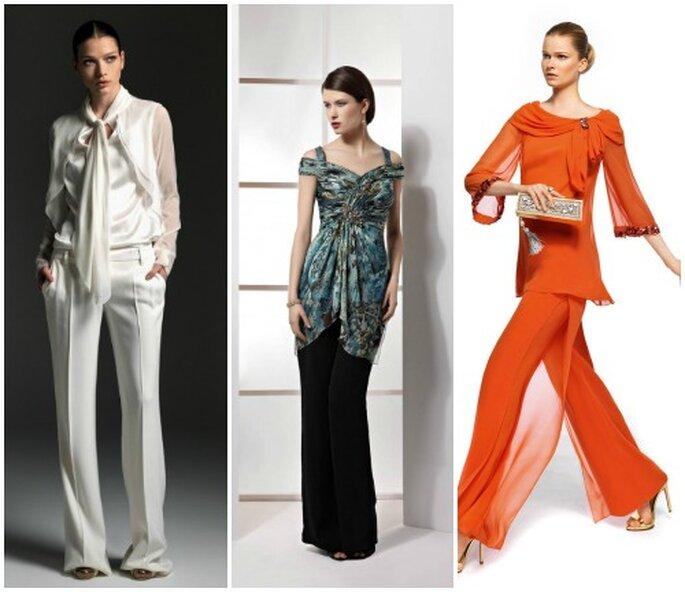 Invitées à un mariage : optez pour un pantalon ! Gauche à droite : Blumarine A/H 2012-13, Demetrios 2013, Pronovias 2013.