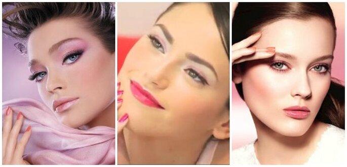 Il rosa è uno dei colori più amati dalle spose, per occhi e labbra. Da sinistra Dior Make Up Collection, Pupa Milano e Chanel.