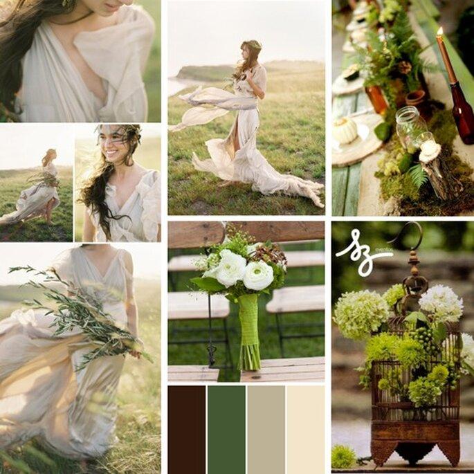 Decoración de boda con elementos inspirados en la naturaleza - Foto ruffledblog.com, blushingbrideblog.com, bespoke-bride.com y sbchic.com
