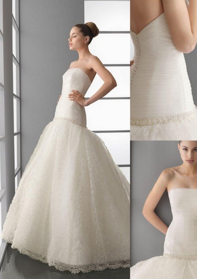 Vestido de novia 2012 con cuerpo de tul y pedrería, y falda de tul bordado, en color natural. Adelanto de Aire Barcelona