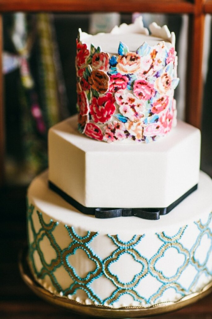Pasteles de boda multicolor para 2014 - Foto Nick + Cali Photography