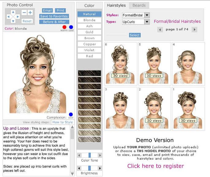 """Page du site où vous pouvez """"essayer"""" les coiffures"""