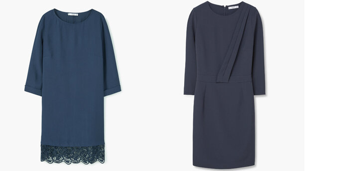 Sukienki w stylu klasycznym z delikatnymi aplikacjami w kształcie trapezu z Mango
