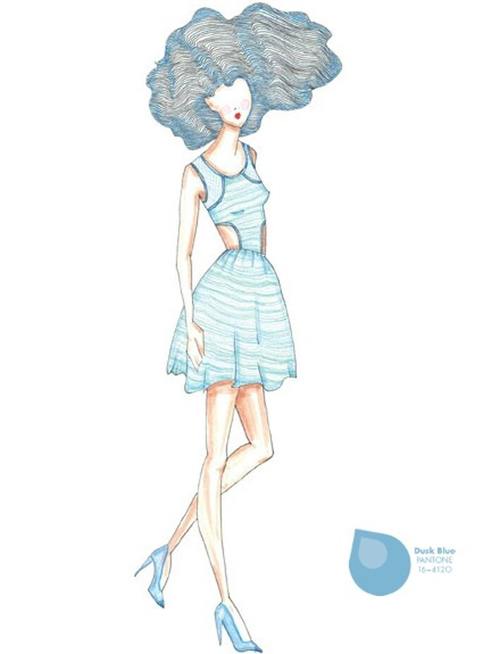 Couleur: Bleu. Illustration: Saunder, pour Emily Saunders. Photo: Pantone