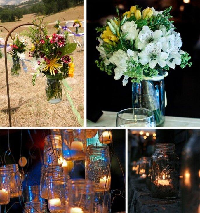 Utiliza frascos de vidrio para la decoración bohemia de tu boda - Foto offbeatcin, _Josh_Lowe_, brad.coy y Darin House en Flickr