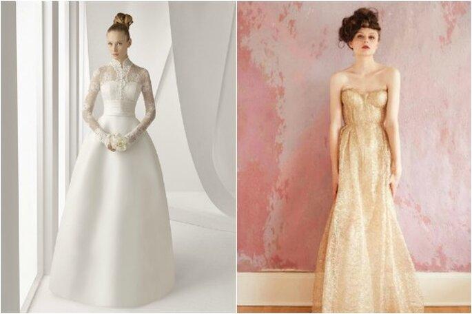 """Due modelli """"a clessidra"""" per spose senza curve: a sinistra, abito da sposa Rosa Clarà; a destra, abito Sarah Seven. Foto: Rosa Clarà e Sarah Seven"""