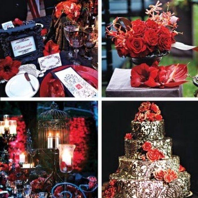 Décoration rouge mariage gothique - Theweddingdecorator.blogspot.com & Swankytablesblog.com