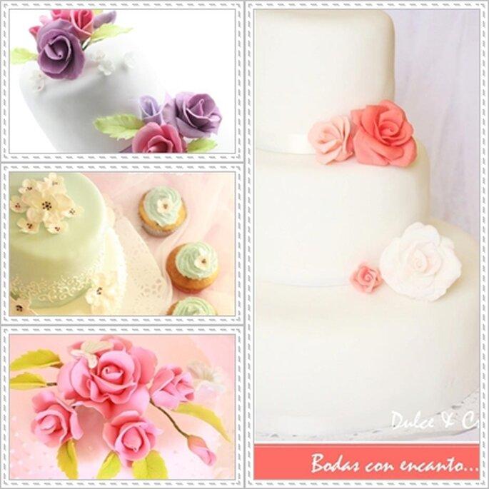 Flores de azúcar para tu tarta de bodas. Foto: Dulce y creativo