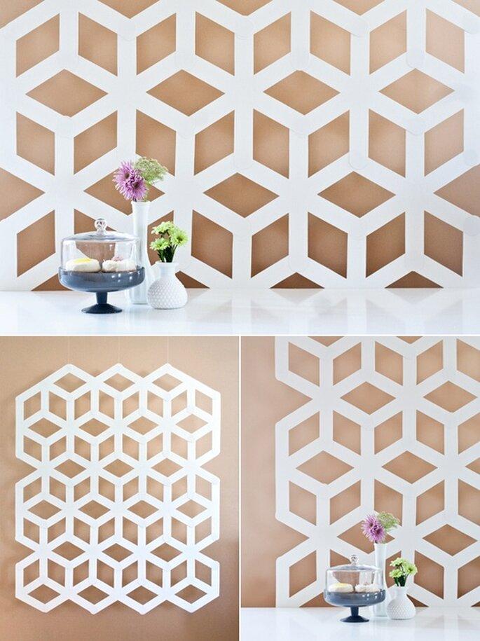 Schöner Hintergrund für den Dessert-Tisch oder als Photobooth. Foto: Project Wedding