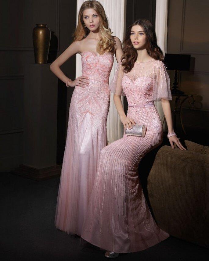 Vestidos de fiesta en color rosa con textiles brocados y aplicaciones de pedrería - Foto Aire Barcelona
