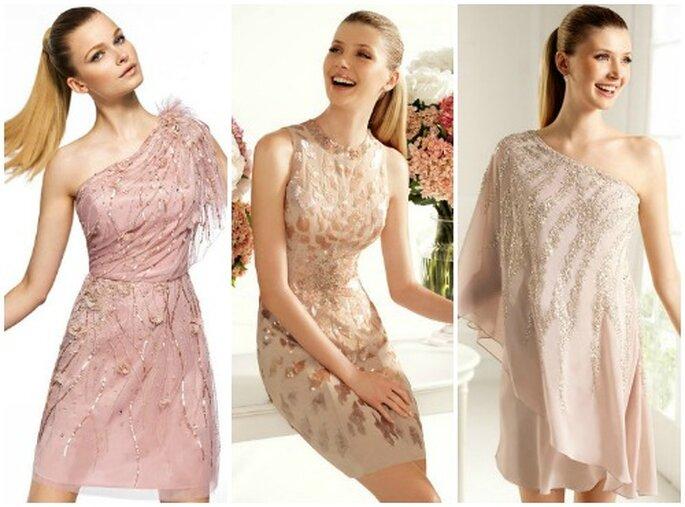Tre proposte in nuance di rosa,dal cipria al nude...impreziosite da cristalli e decori. Pronovias Fiesta 2013. Foto www.pronovias.com
