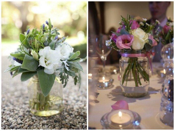 Centros de mesa de flores. Fotos: Amy and Stuart photography
