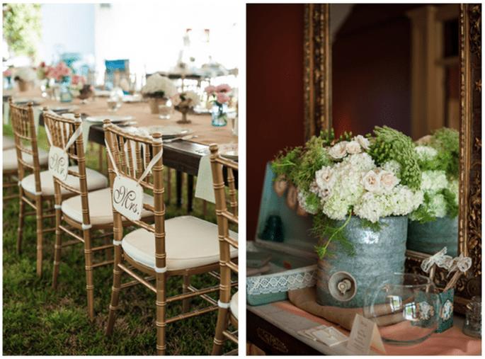 Decoraciones originales para las sillas del banquete de bodas - Foto Scobey Photography