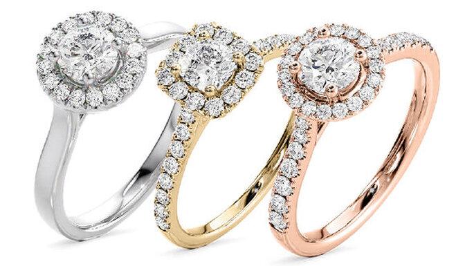 Bagues de fiançailles or et diamants, différents modèles et différents ors
