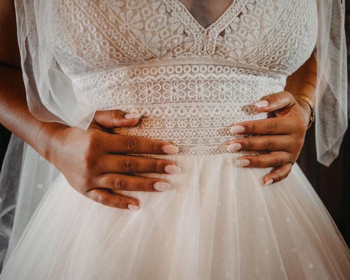 Pormenor do vestido de noiva