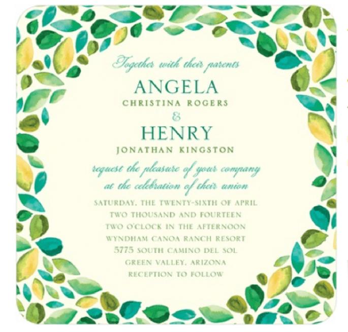 Usa colores y diseños de temporada para que tus invitaciones luzcan aún mejor - Foto Wedding Paper Divas