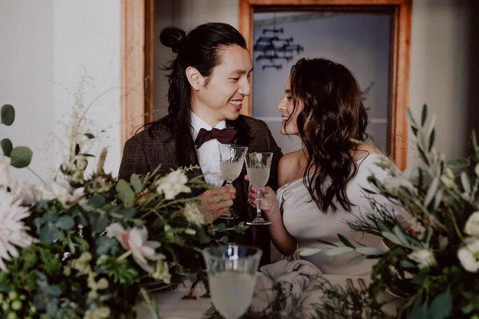 Minimony Tischdekoration Hochzeit Brautpaar