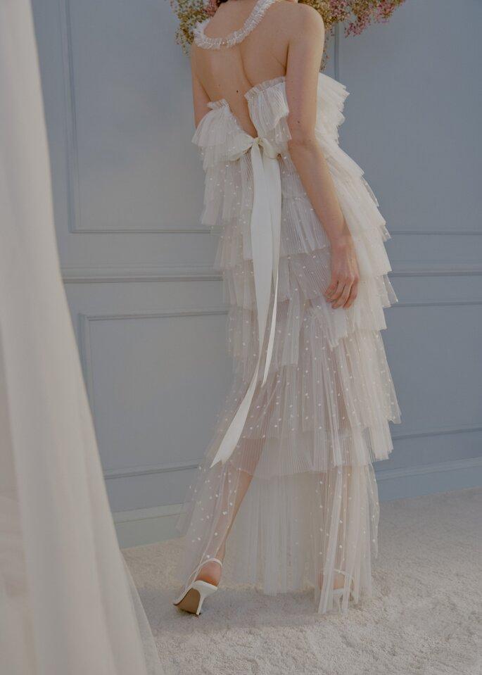vestido de novia drapeado angela pedregal
