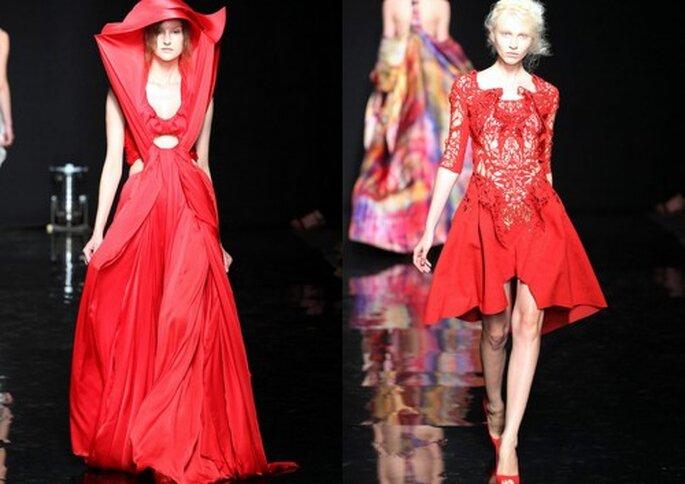 Vestido de fiesta. Pasarela Yiqing Yin Haute Couture Paris Otoño invierno 2012/2013