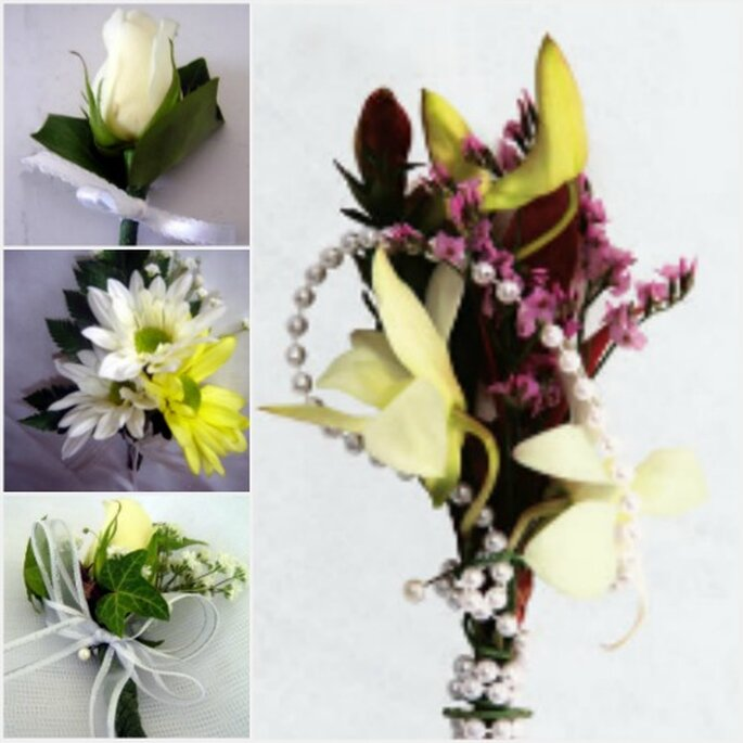 Bouttoniers con flores, cintas y perlas. Fotos: Jose Brandway