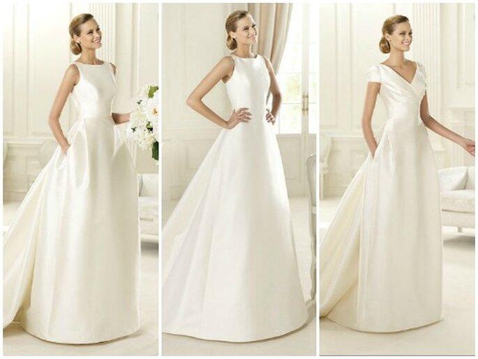 Tre abiti di Manuel Mota per Pronovias che nelle sue collezioni non rinuncia mai ad alcuni modelli minimal. Pronovias 2013.