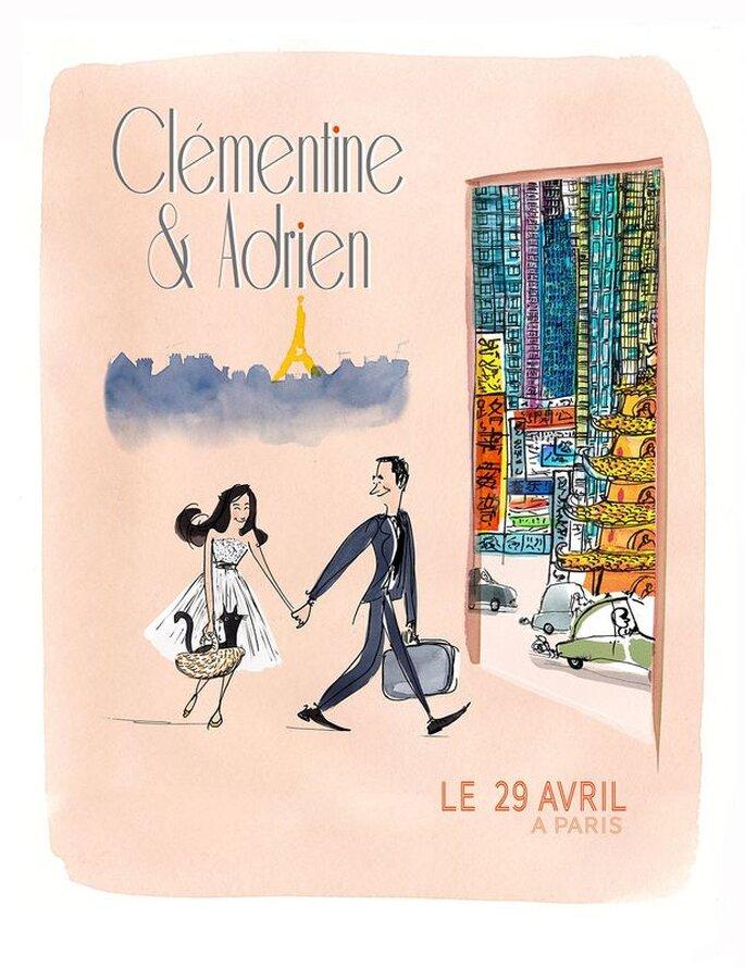 Croqueuse de mariage - faire-part - Paris